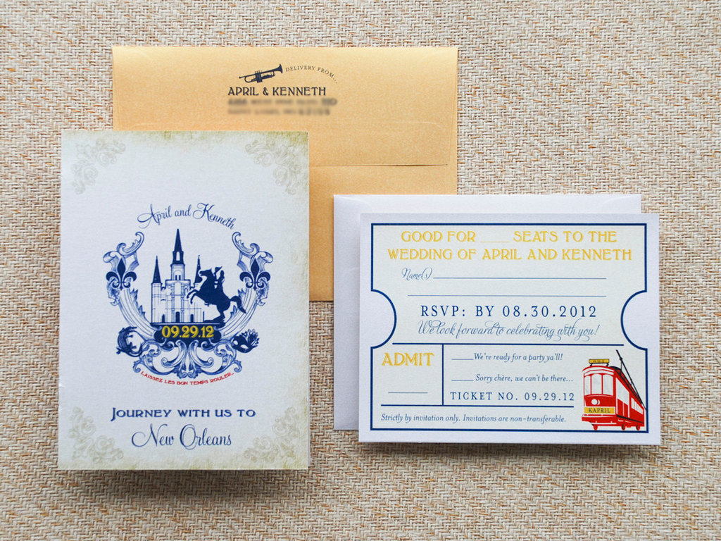 vintage travel wedding invitations New Orleans
