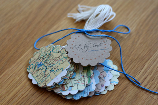 Vintage map wedding decor scalloped escort cards