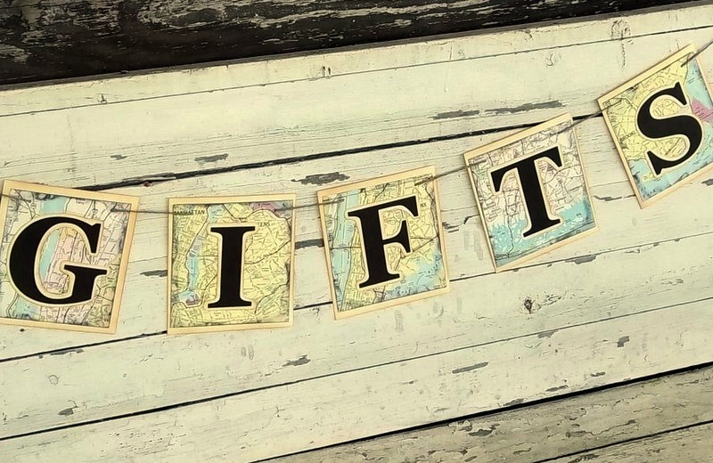 Wedding sign for gift table vintage travel theme