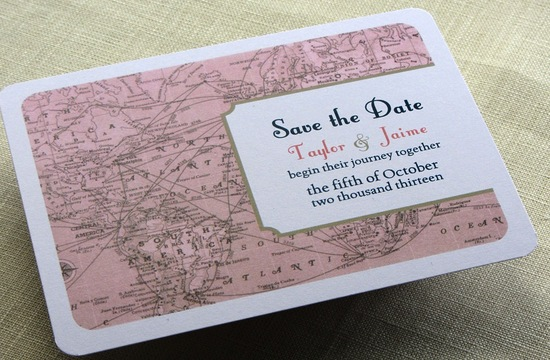Romantic wedding save the date blush pink white vintage map
