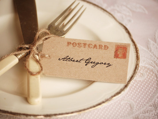 Simple wedding place setting vintage postcard escort card