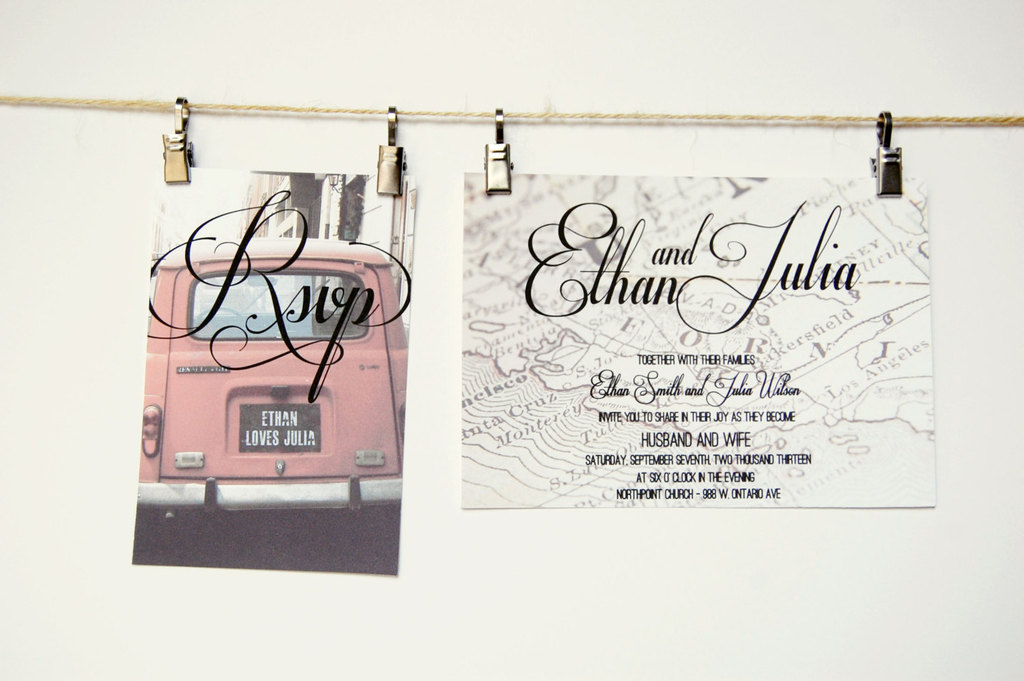 Vintage road trip wedding invitation