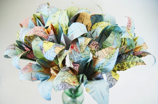 Vintage map paper wedding flowers