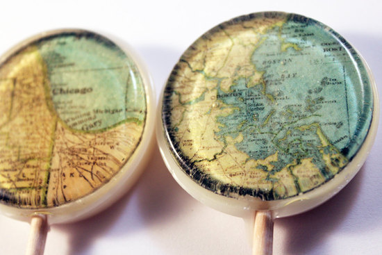 vintage map wedding ideas lollipops