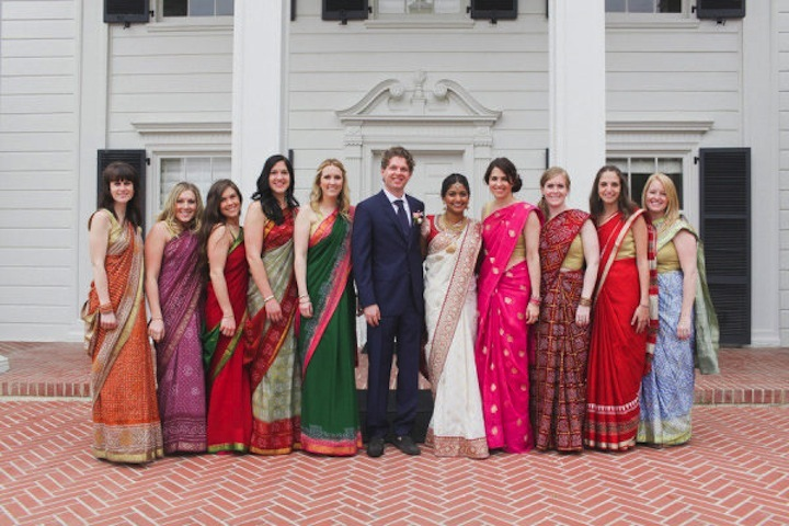 Multi-cultural-wedding-bridesmaids-in-colorful-saris.full