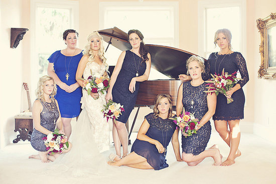 Shades of blue mix and match bridesmaids