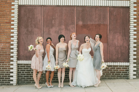 Blush and gray mix and match bridesmaids