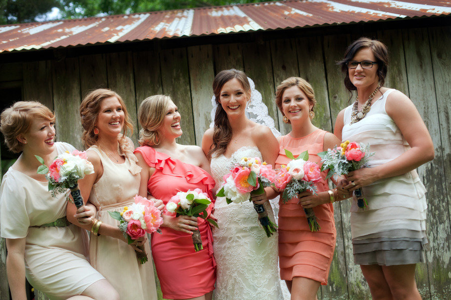 Coral-cream-and-gray-mix-and-match-bridesmaids.full