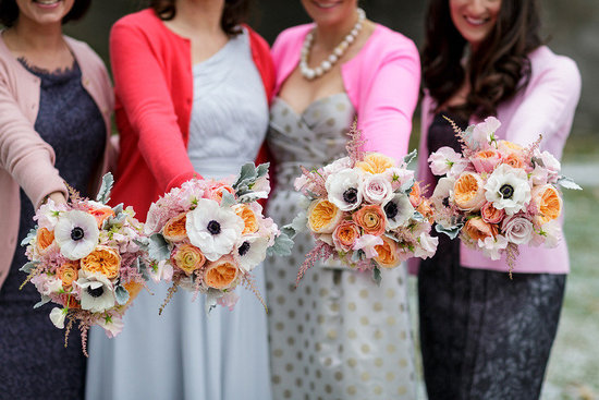 Unique mix and match bridesmaids show off gorgeous bouquets