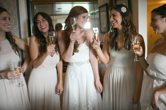 Mix and match bridesmaids in creams and beige
