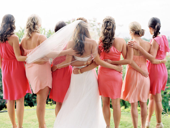 Coral peach pink mix and match bridesmaids