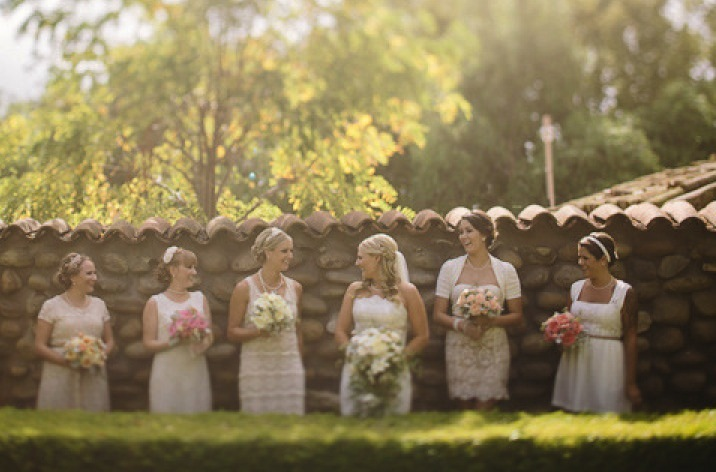 mix and match bridesmaids in short lace cream frocksa