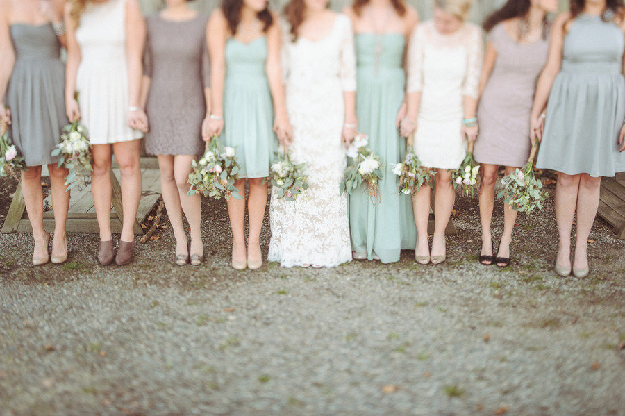 Sage mauve cream mix and match bridesmaids