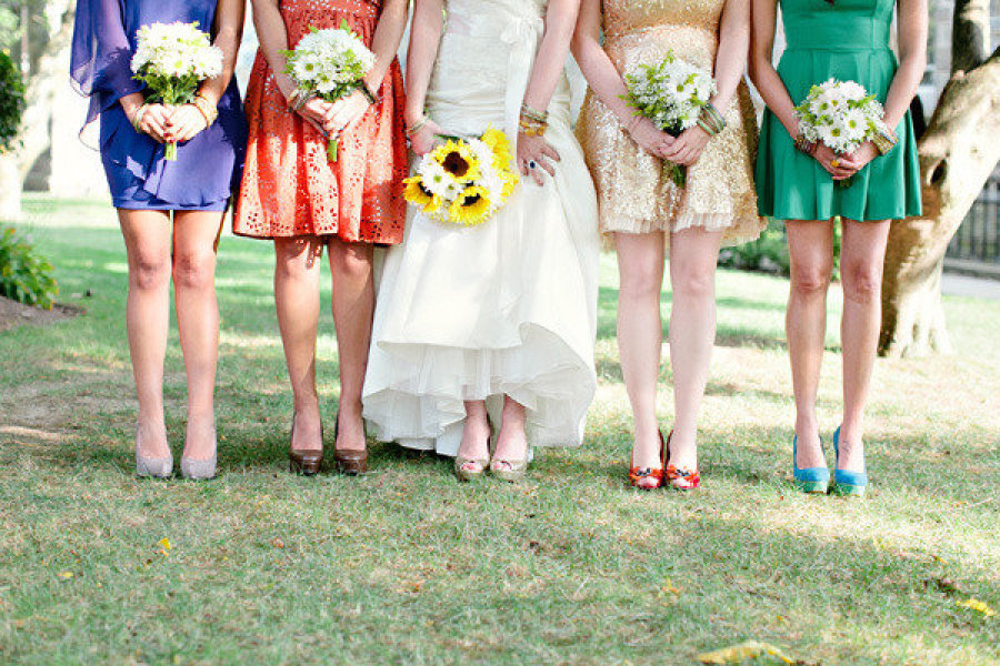 Mix and match bridesmaids gold orange violet green - Does orange and green match ...
