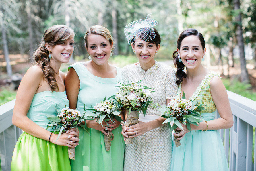 Lime and turquoise mix and match bridesmaids