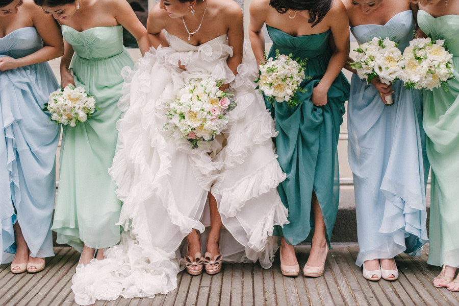Sky blue seafoam teal mix and match bridesmaids