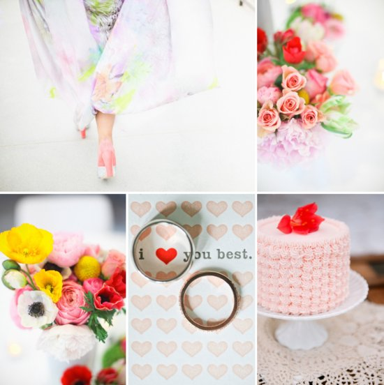Romantic wedding color palette mixed pinks reds with pastel coral lilac