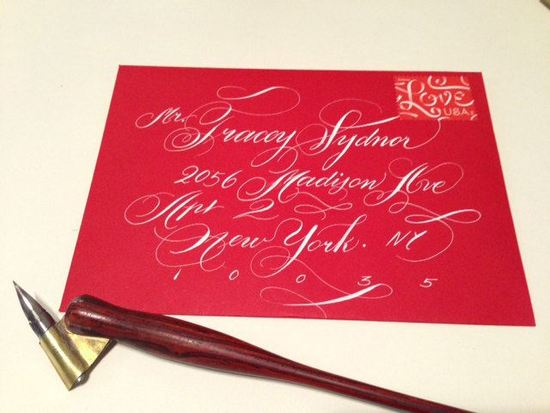 Red wedding invitation