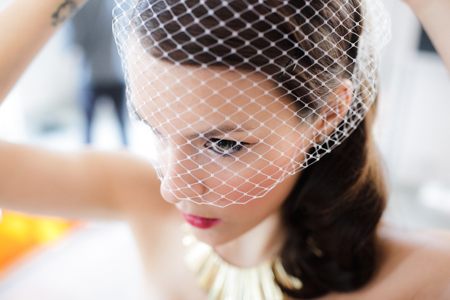 Bridal Beauty Inspiration retro romantic bride with blusher