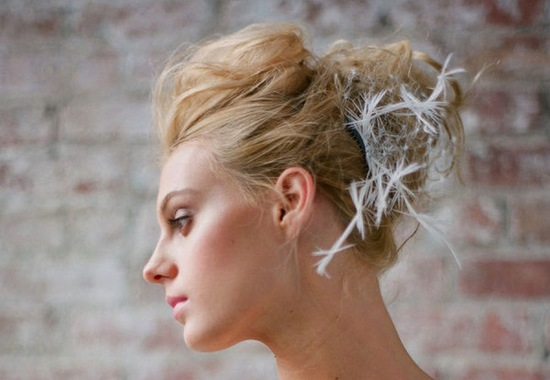 Messy textured bun wedding updo