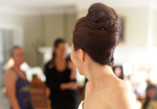 Unique wedding hairstyle modern beehive