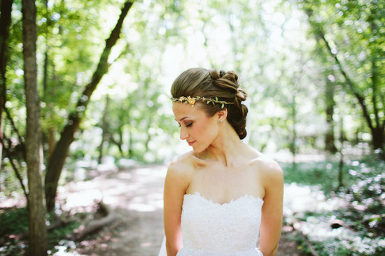 Bohemian bridal updo with floral crown