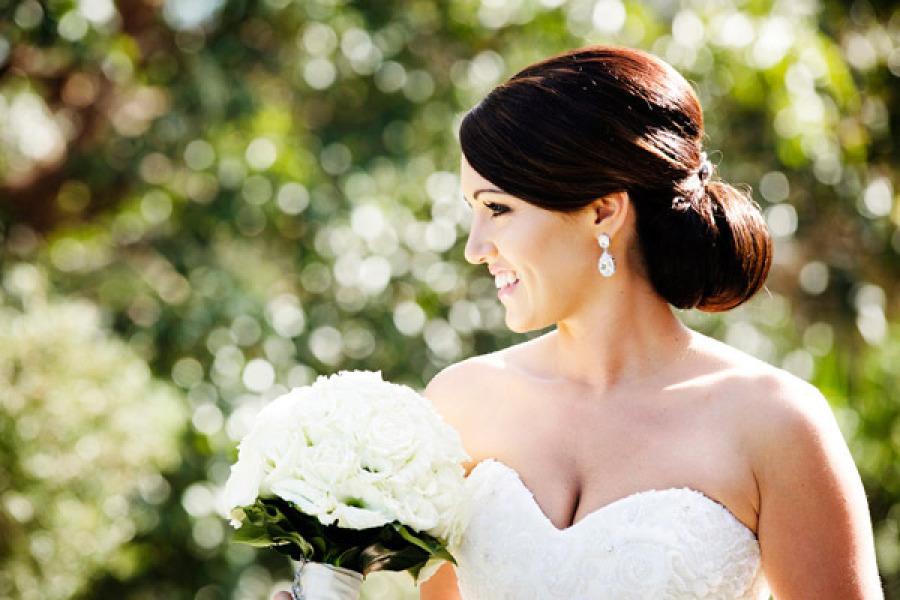 Classic Bridal Updo Hairstyle : Chignon low bun bridal updo