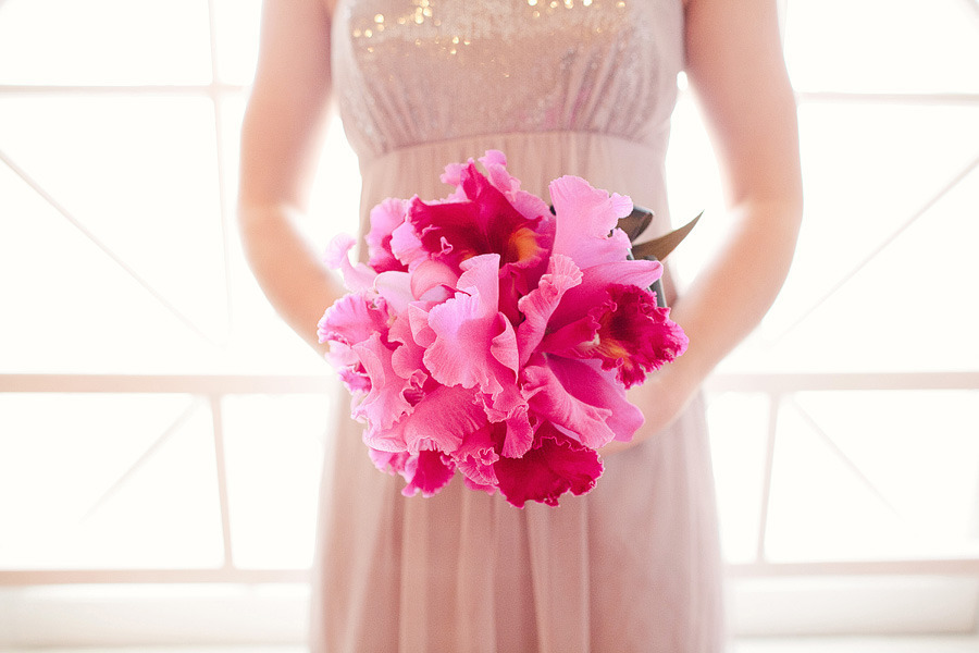 Exotic Pink Wedding Bouquet Fuschia And Orchid