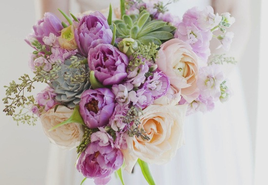 Light purple green pastel wedding bouquet