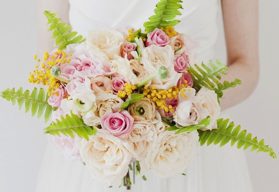 Spring wedding bouquet with bright chartreuse pops