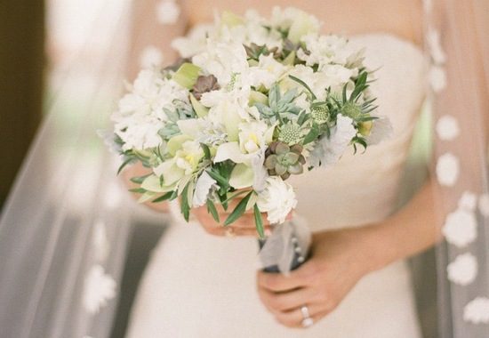 Elegant wedding bouquet creamy neutrals sage succulents
