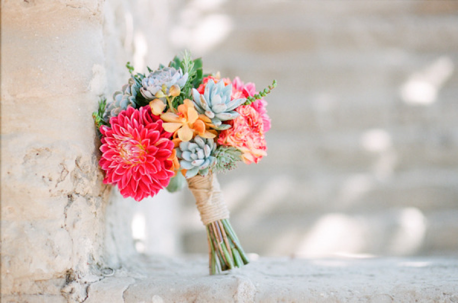 Wedding Bouquet With Dahlias : Dahlia orchid and succulent wedding bouquet onewed