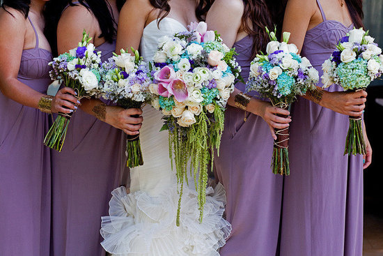 Unique exotic wedding bouquets with orchids hydrangeas roses and more