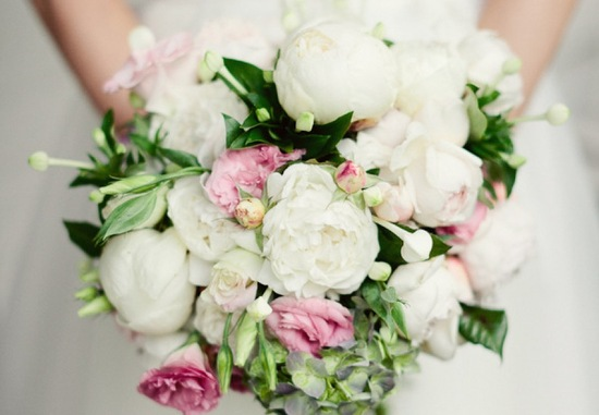 Romantic peony bridal bouquet cream pastel pink green