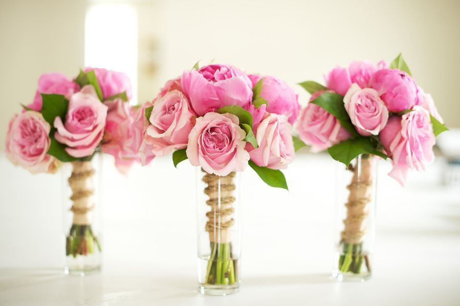 Pink Wedding Bouquets With Peonies And Roses