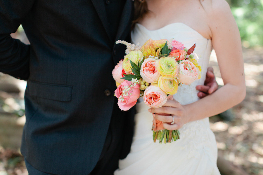 Pastel Peach Coral and Yellow wedding bouquet