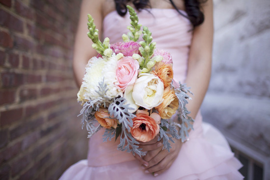 Whimsical wedding bouquet in peach ivory blush sage