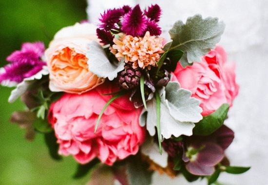 Rich Spring Wedding Bouquet with Peonies Garden Roses Lambs Ear