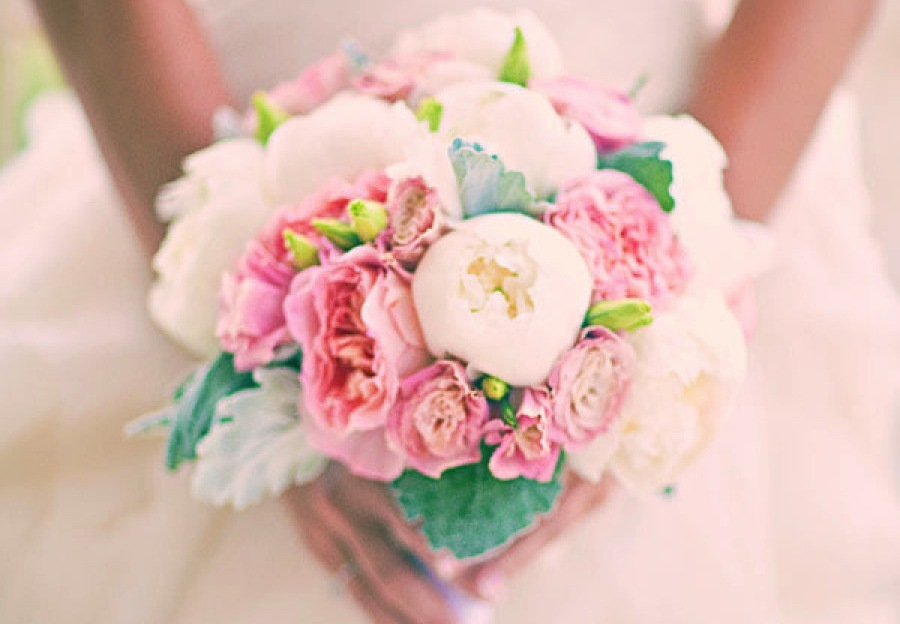 Romantic garden wedding bouquet with peonies and lambs ear