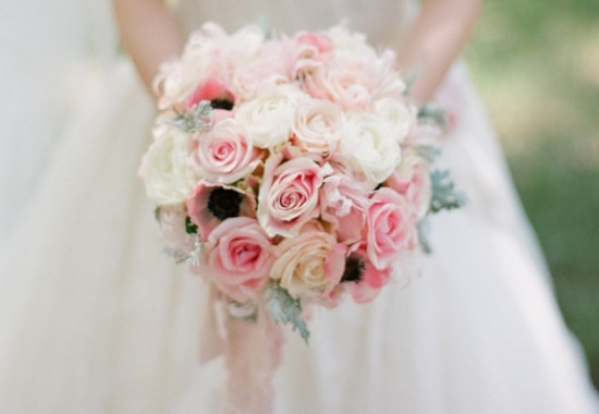 Romantic ivory soft pink wedding bouquet