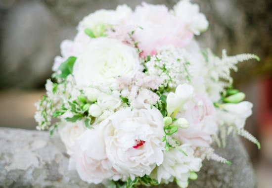 Dreamy ivory pastel pink green bridal bouquet