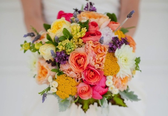 Bright assorted wildflower wedding bouquet