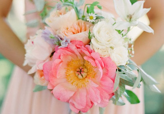 Unique bridal bouquet with huge coral pink peony