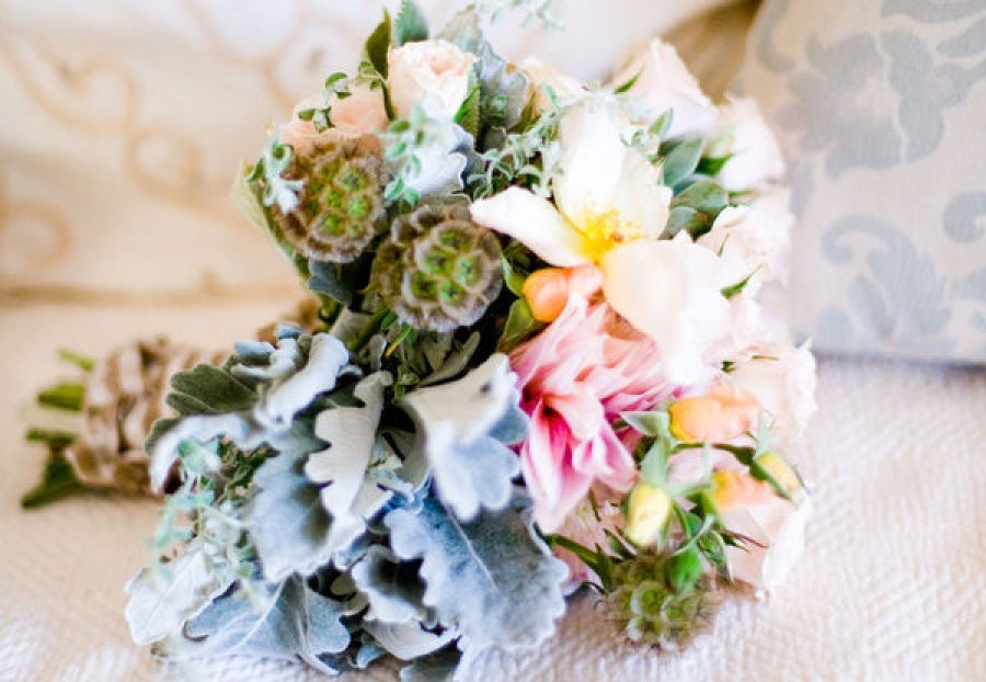 Rustic romantic wedding bouquet for spring
