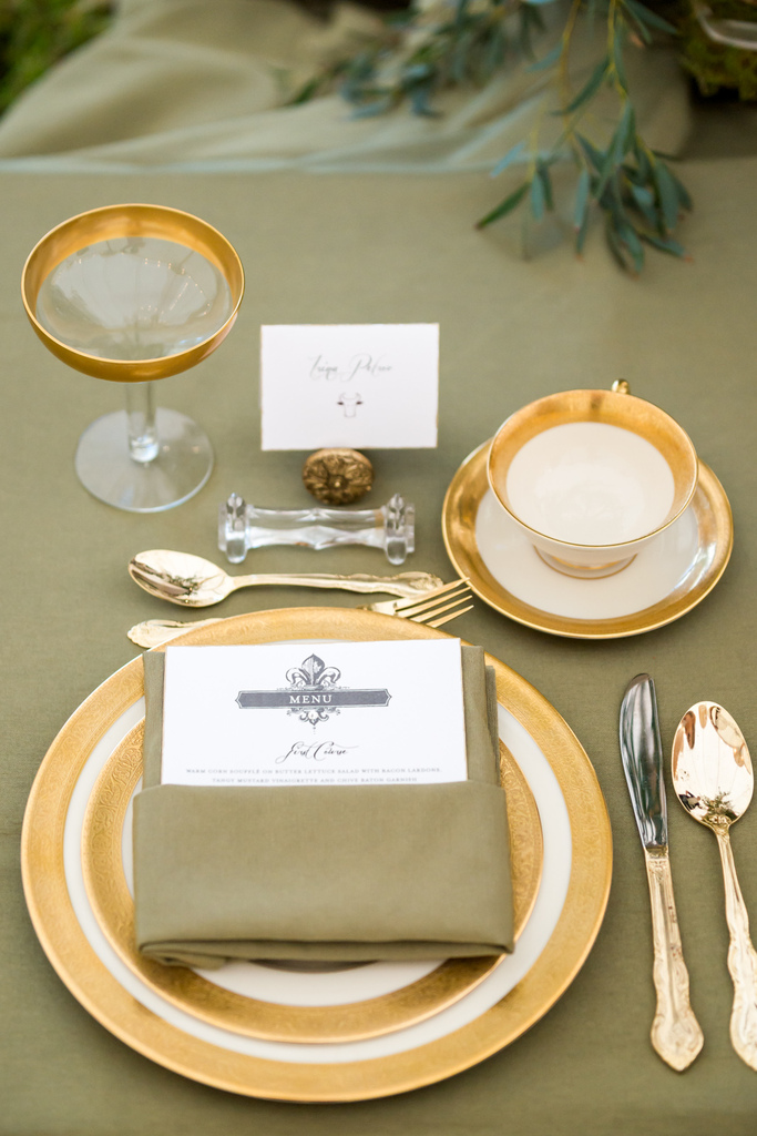 photo of Gold forks for vintage wedding reception