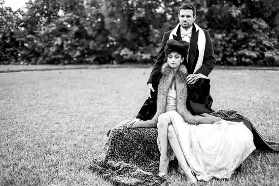 Vintage wedding inspiration bride and groom pose a la Anna Karenina
