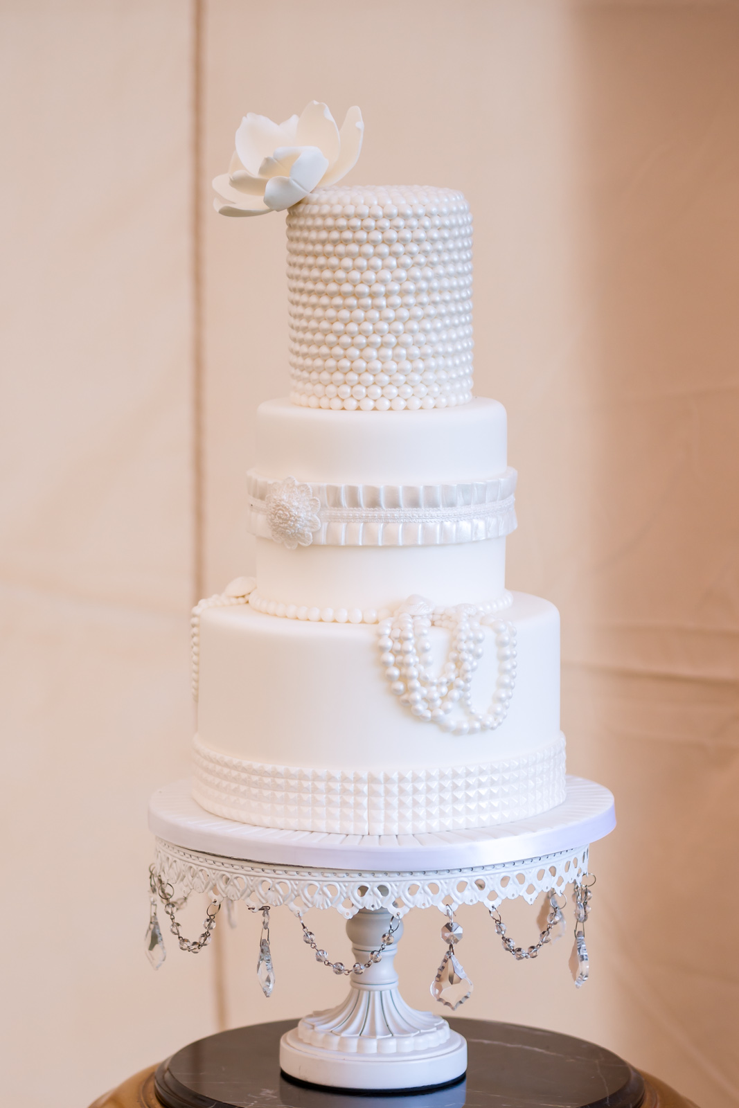 Elegant all white wedding cake