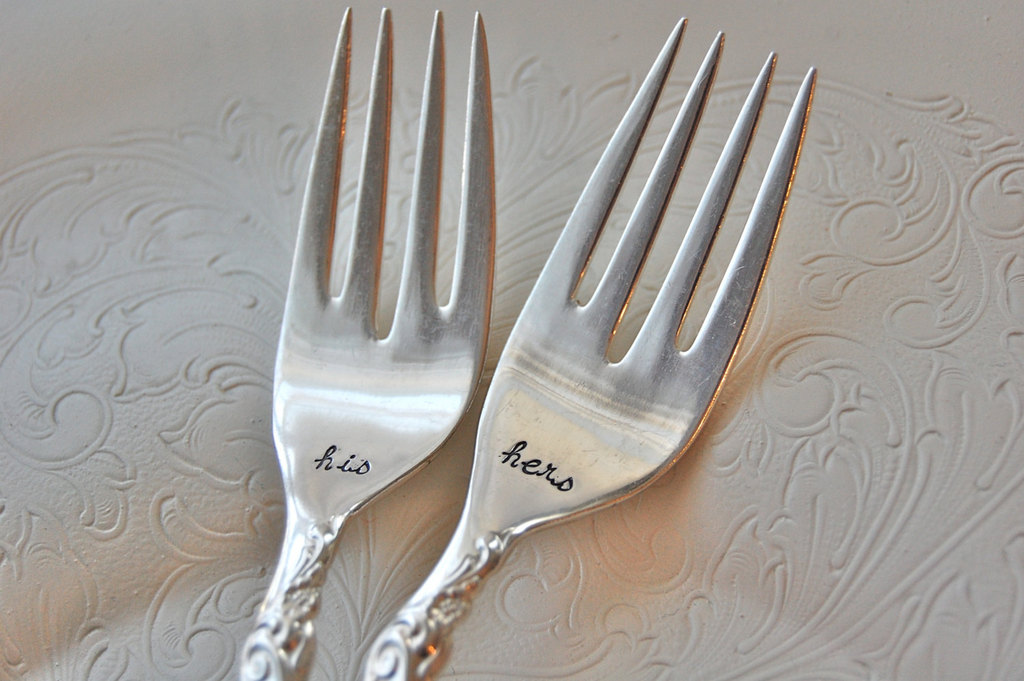 Vintage-his-and-hers-forks-for-wedding-reception.full