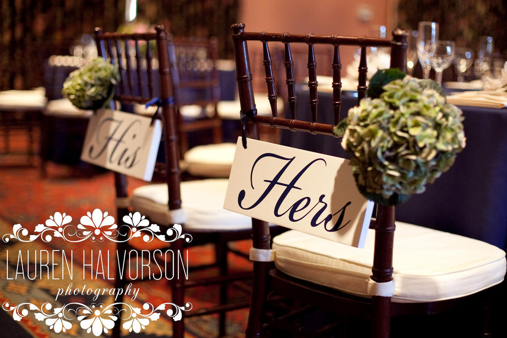 His and Hers wedding reception signs