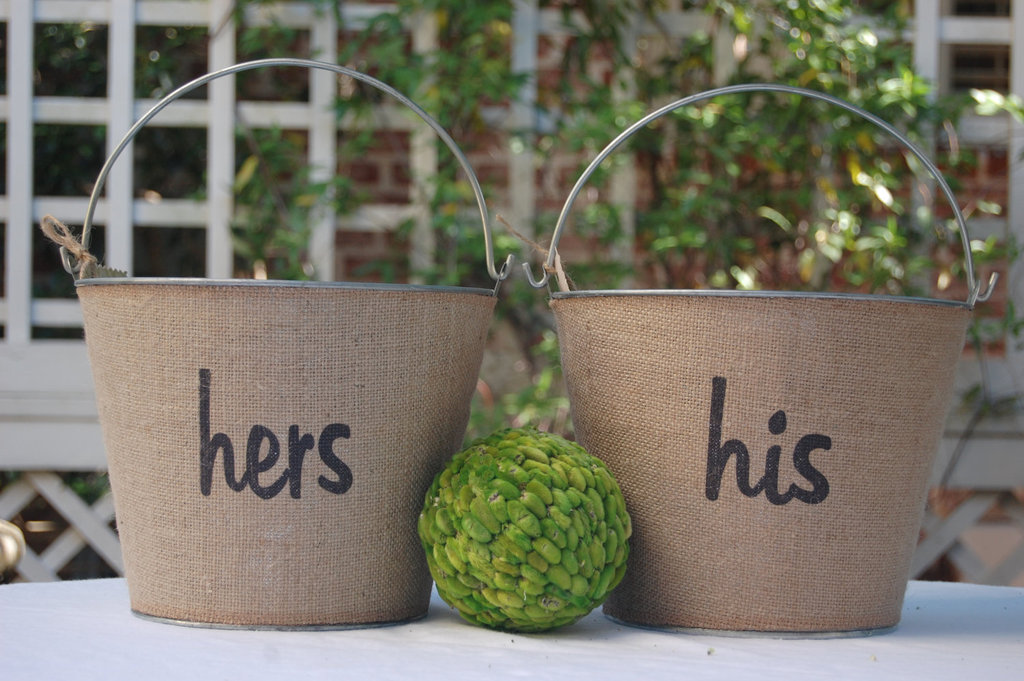 His And Hers Rustic Wedding Decor Burlap Pails